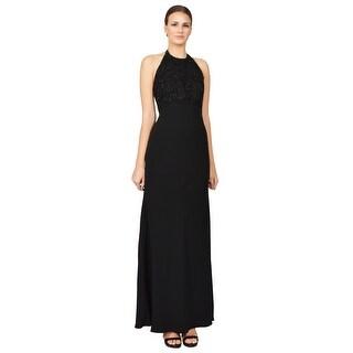 Carmen Marc Valvo Lace Applique Crepe Halter Evening Gown Dress Black - 12