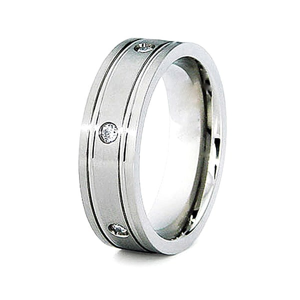 7mm Grooved Titanium Ring with 6 CZs (Sizes 7-12)