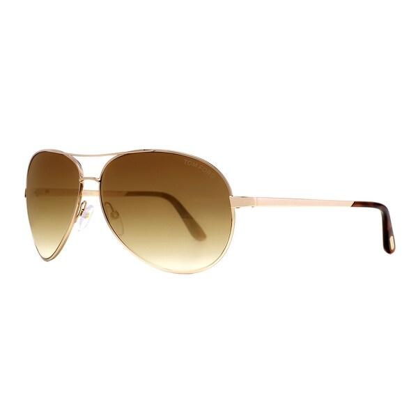 17c554ec04f0 Tom Ford Charles TF 35 28G Rose Gold Brown Gradient Aviator Sunglasses -  Gold -