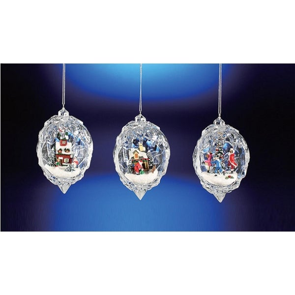 """Club Pack of 12 Icy Crystal Egg Shaped Christmas Scene Ornaments 4.5"""" - CLEAR"""