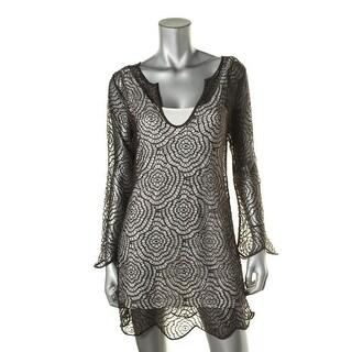 Nic + Zoe Womens Camilia Crochet Lined Pullover Top