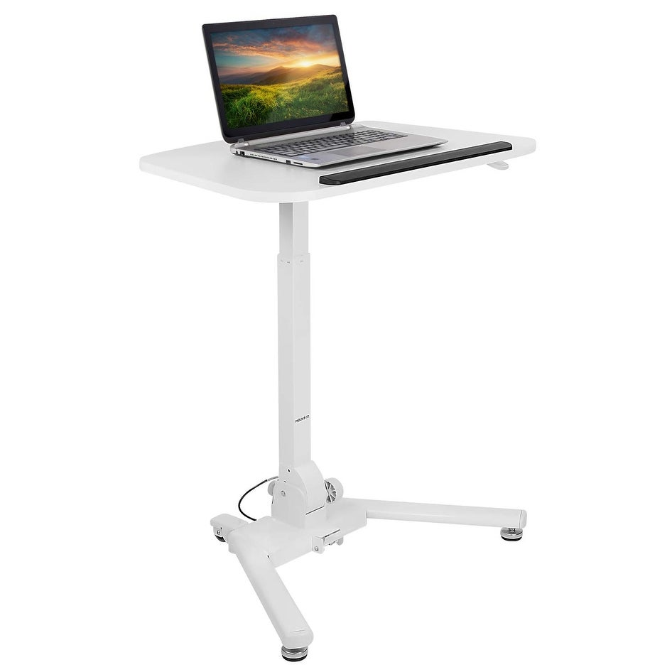 Mobile Rolling Laptop Desk Cart Stand Height Adjustable Computer Laptop Table