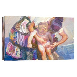 """PTM Images 9-101720  PTM Canvas Collection 8"""" x 10"""" - """"Beach Bather"""" Giclee Children and Women Art Print on Canvas"""