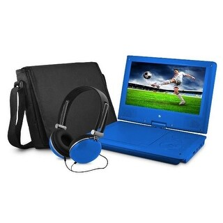 9 in. Dvd Player Bundle Blue