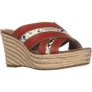 Coach Florentine Slip-on Wedge Sandals, Saddle/Carmine