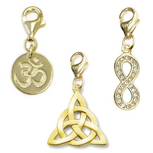 Julieta Jewelry Celtic Knot, Om, Infinity 14k Gold Over Sterling Silver Clip-On Charm Set