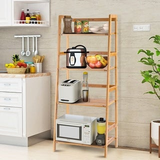 Costway Multifunctional 4 Shelf Bamboo Bookcase Ladder Plant Flower Stand Rack Storage - bamboo color