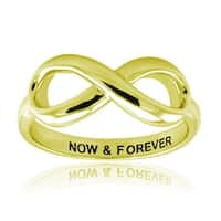 Sterling Silver Gold Plated Now & Forever Infinity Ring