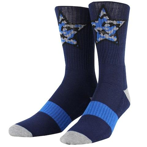 Steve Madden Men's Ribbed Single Pair Street Crew Sock, Navy, 6-12.5