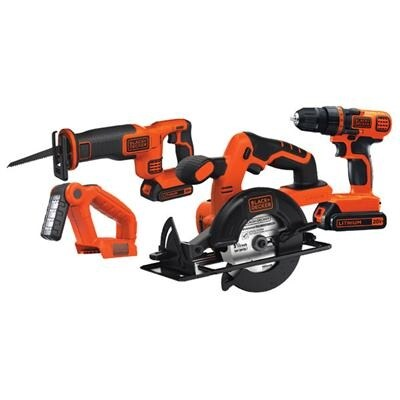 Black & Decker Bd4kitcdcrl 20V Max Lithium Ion 4 Tool Combo Kit - Drill/Driver & More
