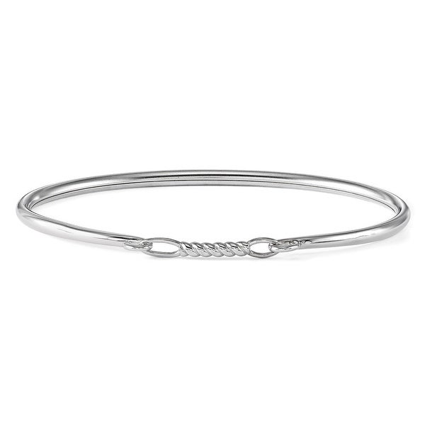 Sterling Silver Reflections Polished Bead Bar Flexible Bangle (2.8mm)