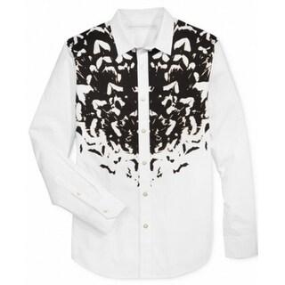 Sean John NEW White Mens Size 3XL Graphic-Print Button Down Shirt