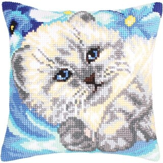 Collection D'art Stamped Needlepoint Cushion Kit 40X40cm-Cute Kitten