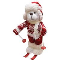 "15"" White Winter Boy Bear with Skis Christmas Figure Decoration"