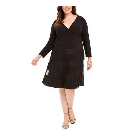 R&M RICHARDS Black Long Sleeve Knee Length Shift Dress Size 16W
