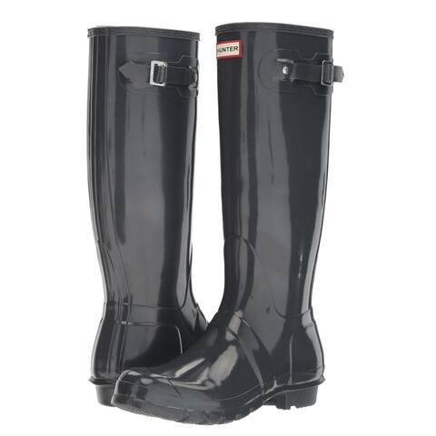 Hunter Women's Original Tall Gloss Rain Boots (Dark Slate/ Size 10)