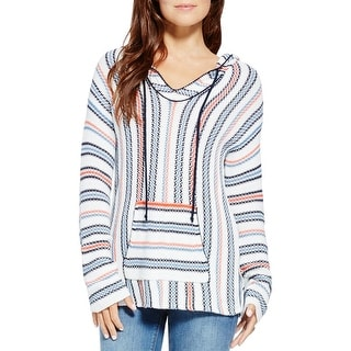 Two by Vince Camuto Womens Hoodie Striped V-Neck