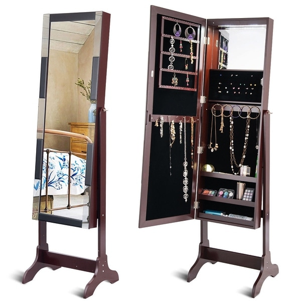Standing Armoire Storage Mirrored Jewelry Cabinet w/ LED Lights - Brown