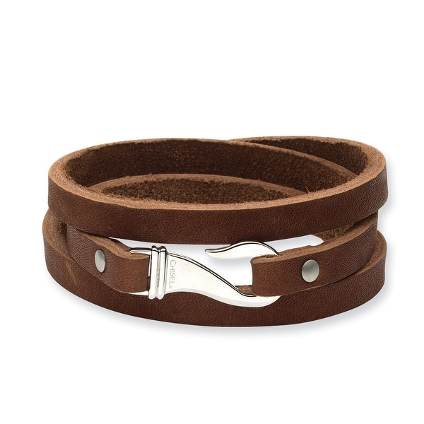 Chisel Stainless Steel Brown Leather Wrap Bracelet