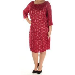 JESSICA HOWARD $99 Womens New 1223 Red Lace Zippered Shift Dress 18W Plus B+B