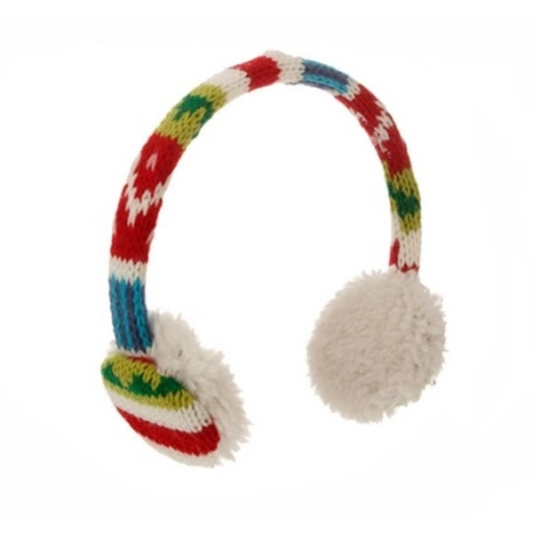 "4.75"" Merry & Bright Red, Green, Blue and White Knit Earmuff Christmas Ornament - multi"