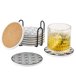 4'' Gray Pattern Ceramic Coasters for Drinks With Holders Set of 8