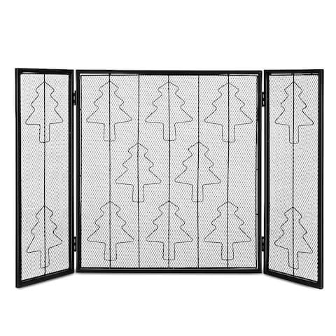 Costway Folding 3 Panel Steel Fireplace Screen Doors Heavy Duty
