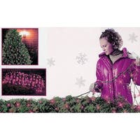 4' x 6' Pink Mini Net Style Christmas Lights - Green Wire