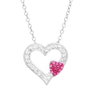 Crystaluxe Open Heart Pendant with Swarovski Crystals in Sterling Silver - White
