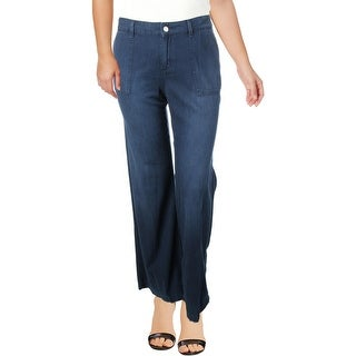 Jessica Simpson Womens Plus Charleston Wide Leg Pants Seamed Utility Pockets