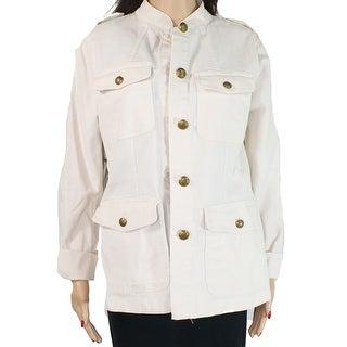 Lauren by Ralph Lauren Womens Jacket Beige Size 6 Military Canvas
