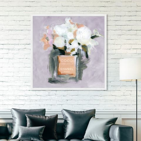 Oliver Gal 'L'Eau de Rose Lavender' Fashion and Glam Framed Wall Art Prints Perfumes - Orange, White
