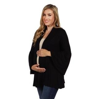 24seven Comfort Apparel Bell Sleeve Maternity Cardigan