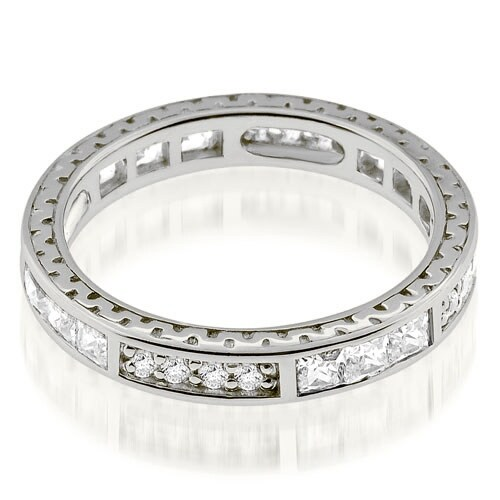 1.00 cttw. 14K White Gold Vintage Round And Princess Cut Diamond Eternity Ring