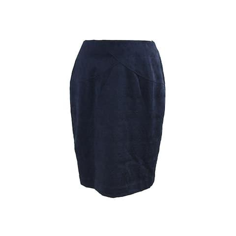 Alfani Navy Embossed Scuba Skirt S