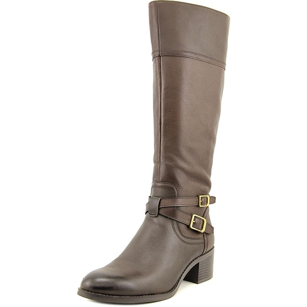Franco Sarto Lapis Women Round Toe Leather Brown Knee High Boot