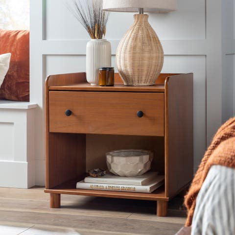 Porch & Den Solid Pine Tray Top 1-Drawer Nightstand