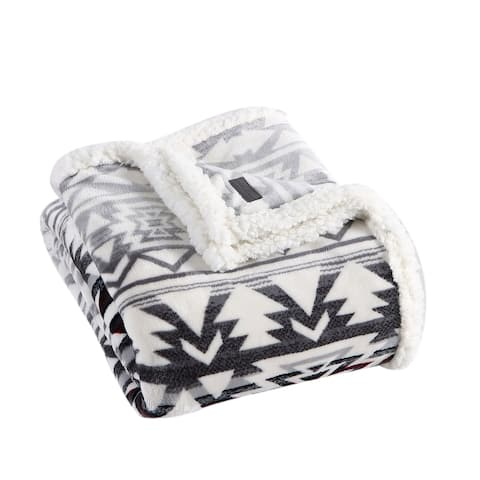Eddie Bauer Clyde Hill Stripe Ultra Soft Plush Sherpa Throw Blanket