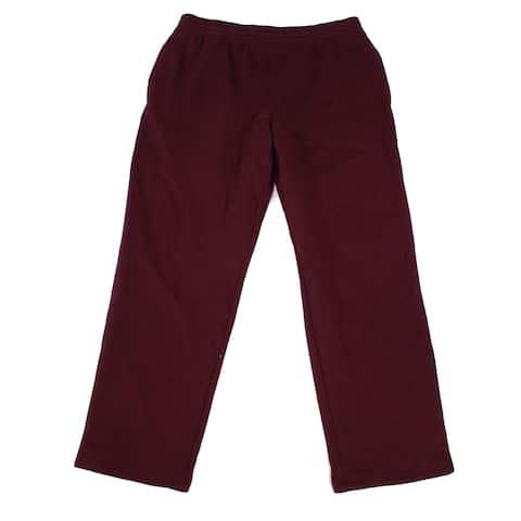 Ideology Mens Sweatpants Port Red Size 2XL Terry Fleece Lined Open-Hem