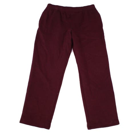 Ideology Mens Sweatpants Red Large L Drawstring Open-Hem Fleece-Lined