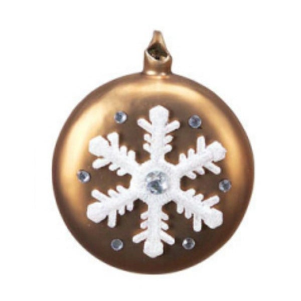 "4.5"" Mocha Brown with White Snowflake and Gems Glass Christmas Disk Ornament"