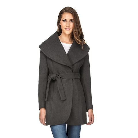 Women's Wool Blend Shawl Collar Wrap Coat