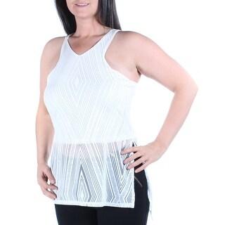 Womens White Striped Sleeveless V Neck Top Size L