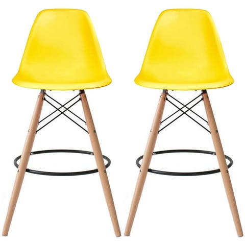 """Set of 2 25"""" Designer Eiffel Chairs Counter Stools With Backs Side Molded Shell Kitchen Office Dining Dowel Bar Patio"""