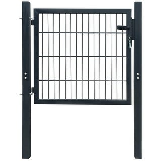 "Link to vidaXL 2D Fence Gate (Single) Anthracite Gray 41.7"" x 51.2"" Similar Items in Yard Care"