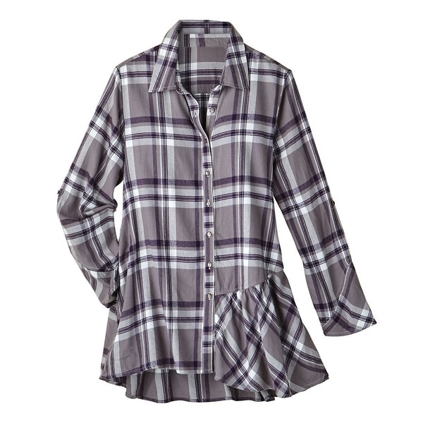 bf34008f14a282 Shop Women's Button Front Flannel Shirt - Amethyst Plaid - Oversized Top -  Free Shipping On Orders Over $45 - Overstock - 18221233