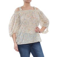 RALPH LAUREN Womens Ivory Floral Long Sleeve Square Neck Top  Size: L