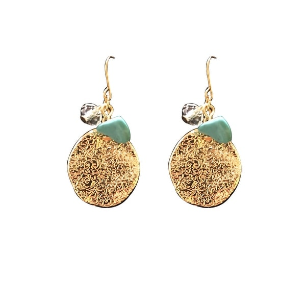 max & MO Gold Disc Small Cluster Earring - gold/turquoise