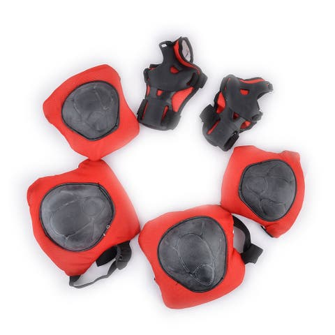 Outdoors Skating Nylon Knee Elbow Wrist Pads Protector Black Red