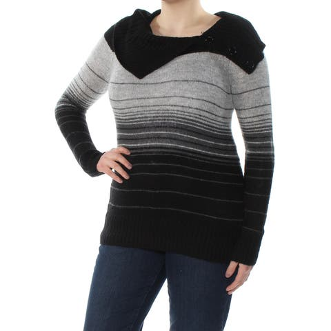 BCX Womens Gray Buttoned Detail Striped Long Sleeve Cowl Neck Sweater Size: XL
